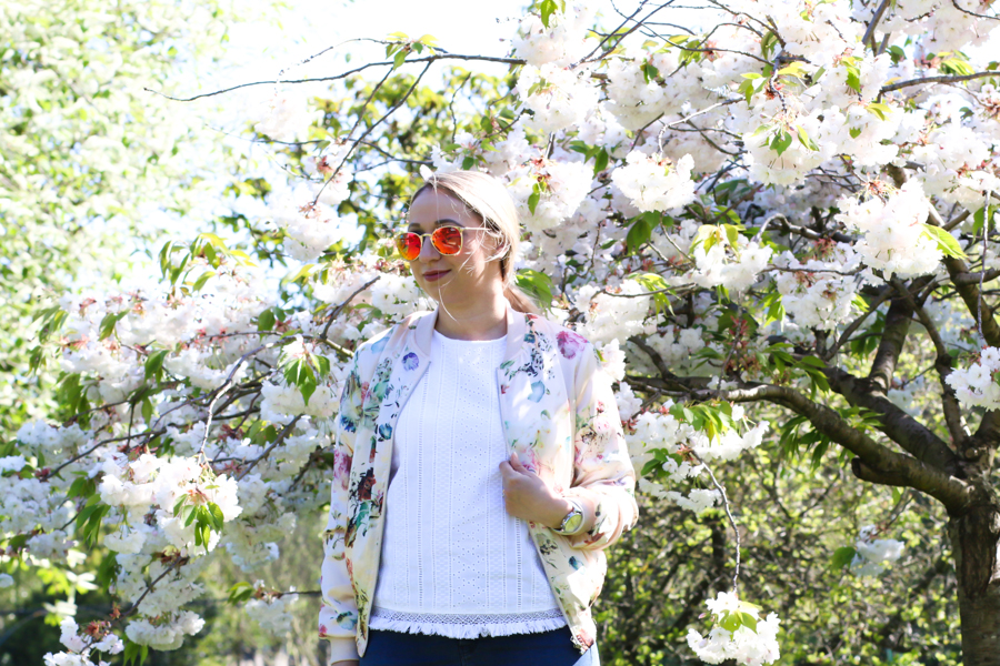 New Look Floral Bomber Jacket 2016